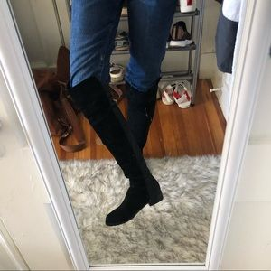 Genuine suede over the knee boots